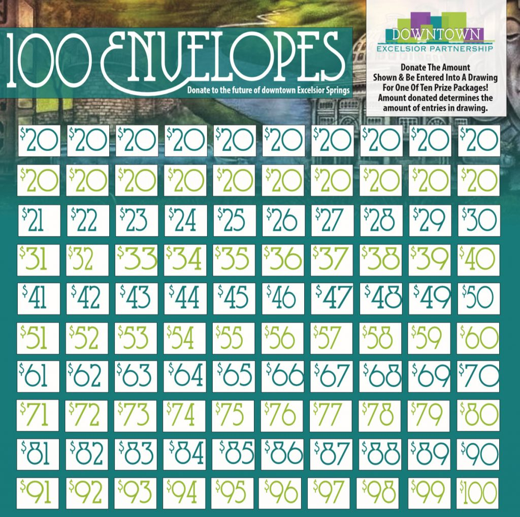 100 envelopes graphic