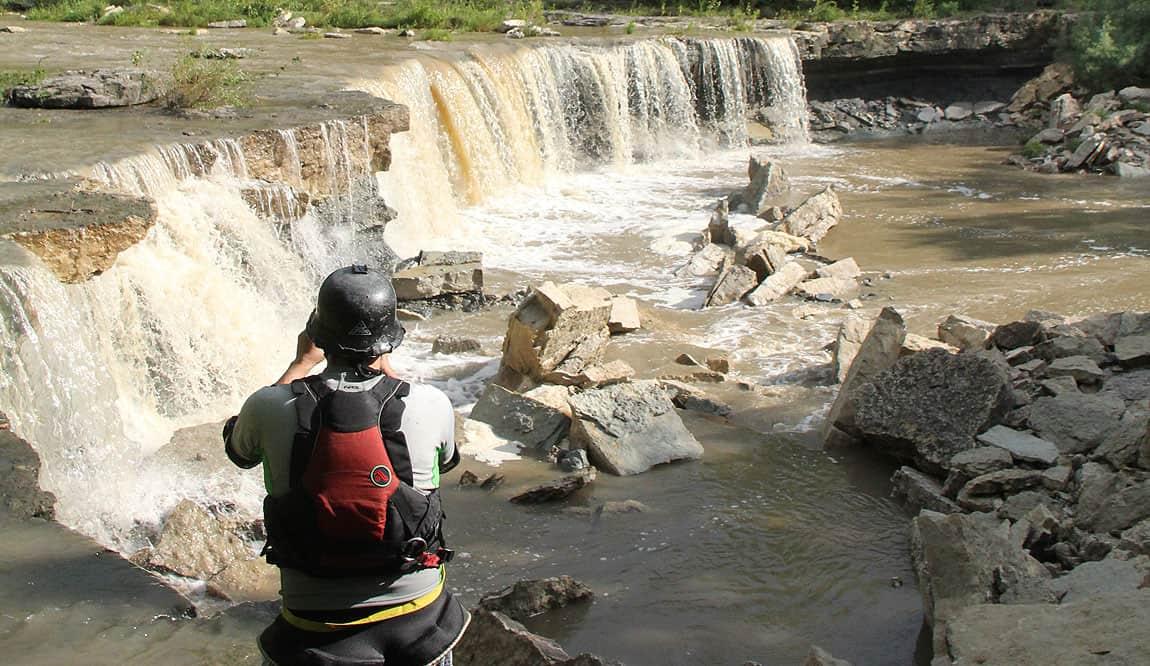 Man Hiking at the Waterfalls photo